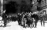 Jewish civilians captured during the destruction of the Warsaw Ghetto, Poland, 1943.