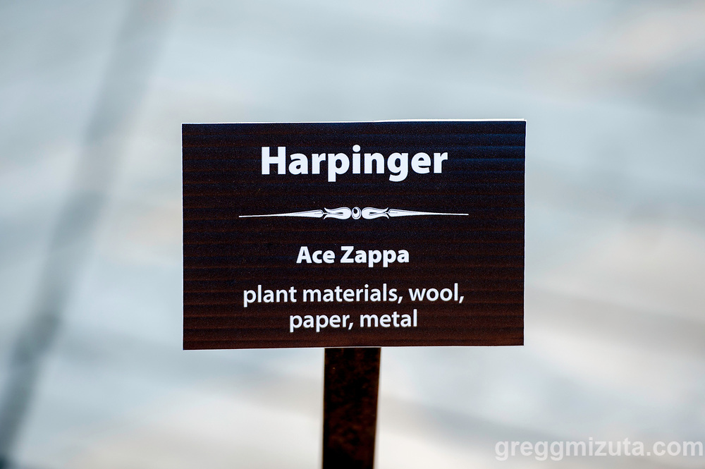 Ace Zappa, Harpinger (plant materials, wool, paper, metal). Land Art Exhibit at the Idaho Botanical Garden, April 28, 2019 in Boise, Idaho.<br /> <br /> The exhibit consist of 10 ephemeral works using natural materials by local artists: Elizabeth Dickey, Alek de Dóchas, Dyan Ferren, Michele Lesica, Jennifer Mahlum, Helen McGill, Lisa Pisano, Claire Remsberg, Heather Wright, and Ace Zappa.<br /> <br /> This was the Idaho Botanical Garden's first ever Land Art Exhibit and featured works using natural materials such as clay, leaves, seeds, stones, wood, and wool. These pieces challenged the artists to think about creating art that does not permanently occupy a space. Due to the nature of these natural art pieces the displays will decay and decompose over time.