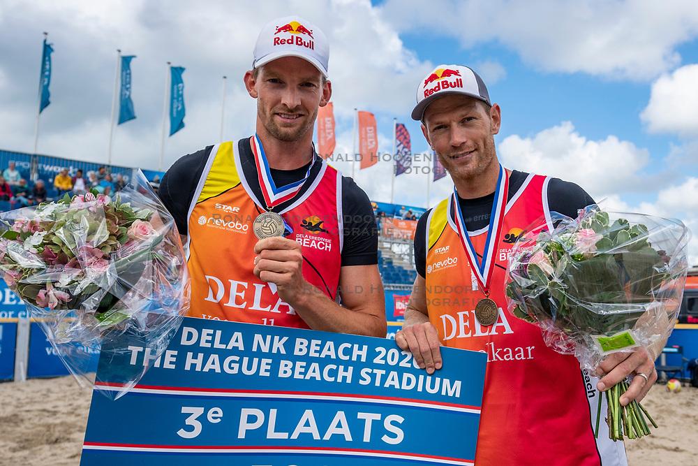 Alexander Brouwer and Robert Meeuwsen bronze medal. Final Day of the DELA NK Beach volleyball for men and women will be played in The Hague Beach Stadium on the beach of Scheveningen on 23 July 2020 in Zaandam.