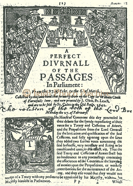 Page of''A Perfect Diurnal of the Passages in Parliament', London, 1642.  This daily account of the proceedings of Parliament for 27 February to 6 March, 1642 shows Parliament in session.