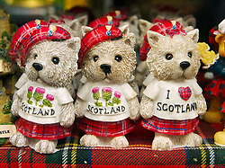Detail of bears wearing kilts which are traditional tourist souvenirs on sale in Edinburgh Scotland