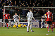 John Marquis of Portsmouth scores from the penalty spot 0-2, during the EFL Sky Bet League 1 match between Lincoln City and Portsmouth at Sincil Bank, Lincoln, United Kingdom on 28 January 2020.