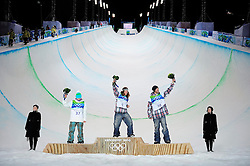 Olympic Winter Games Vancouver 2010 - Olympische Winter Spiele Vancouver 2010, Snowboard (Men's Halfpipe), Peetu Piiroinen of Finland, left, Shaun White of the United States and Scott Lago of the United States celebrate during the flowers ceremony for the men's snowboard halfpipe competition at Cypress Mountain in Vancouver BC, Canada during the 2010 Winter Olympics Wednesday February 17, 2010. Piiroinen took the silver, White won the gold medal and Lago the bronze.Photo by newsport / HOCH ZWEI / SPORTIDA.com..... *** Local Caption *** +++ www.hoch-zwei.net +++ copyright: HOCH ZWEI / newsport +++