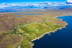 Aerial view of village of Polbain in Coigach , Scottish, Highlands, Scotland, UK