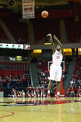 12 January 2011: John Wilkins lets go with a long jump shot during an NCAA Missouri Valley Conference men's basketball game between the Northern Iowa Panthers and the Illinois State Redbirds at Redbird Arena in Normal Illinois.