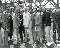 1926 Groundbreaking for a new soundstage at the Christie Studios with Al Christie (in white suit) and Howard Hughes (far right)