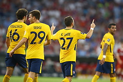 August 2, 2017 - Munich, Germany - Keidi Bare of Atletico de Madrid celebrating with the teammates after the goal scored during the Audi Cup 2017 match between Liverpool FC and Atletico Madrid at Allianz Arena on August 2, 2017 in Munich, Germany. (Credit Image: © Matteo Ciambelli/NurPhoto via ZUMA Press)