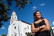 Katrina Delgado poses for her senior portrait at Saint Mary's College of California in Moraga, California, on April 8, 2015. (Stan Olszewski/SOSKIphoto)