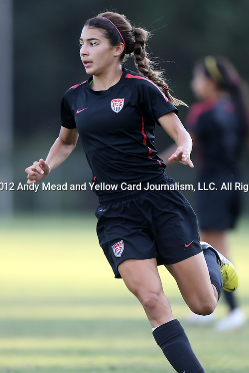 25 October 2012: Marley Canales. The United States Girl's Under-15 National Team (1987s) held a training camp at WakeMed Soccer Park in Cary, North Carolina.