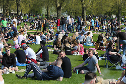 © Licensed to London News Pictures. 20/04/2019. London, UK. Thousands of revellers gather in London's Hyde Park as part of '4/20 Day', an unofficial International Weed Day, an event that takes place every year on 20 April for people to smoke cannabis without been detained. Attendees are calling on the Government to decriminalise Class B drug and raise awareness about the drug. Photo credit: Dinendra Haria/LNP