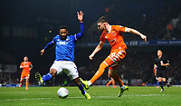 Blackpool's James Husband crosses the ball Ipswich Town's Janoi Donacien<br /> <br /> Photographer Chris Vaughan/CameraSport<br /> <br /> The EFL Sky Bet League One - Ipswich Town v Blackpool - Saturday 23rd November 2019 - Portman Road - Ipswich<br /> <br /> World Copyright © 2019 CameraSport. All rights reserved. 43 Linden Ave. Countesthorpe. Leicester. England. LE8 5PG - Tel: +44 (0) 116 277 4147 - admin@camerasport.com - www.camerasport.com
