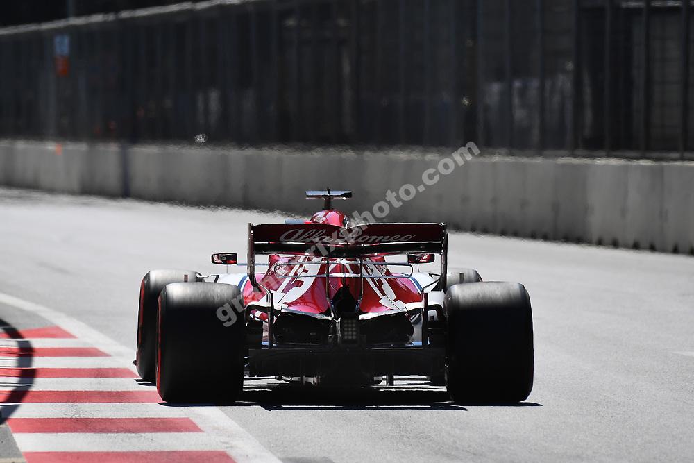 Kimi Raikkonen (Alfa Romeo-Ferrari) seen from behind during practice for the 2019 Azerbaijan Grand Prix in Baku. Photo: Grand Prix Photo