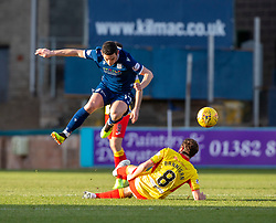 Dundee's Graham Dorrans and Partick Thistle's Stuart Bannigan. Dundee 2 v 0 Partick Thistle, Scottish Championship game played 8/2/2020 at Dundee stadium Dens Park.