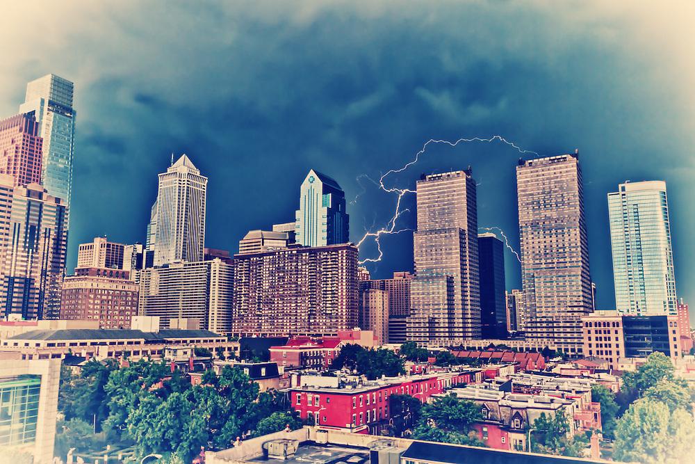 Capture of a lightning striking Center City, Philadelphia, USA.