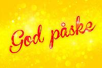 Påske-design med rød tekst «God påske» på gul bokeh bakgrunn.