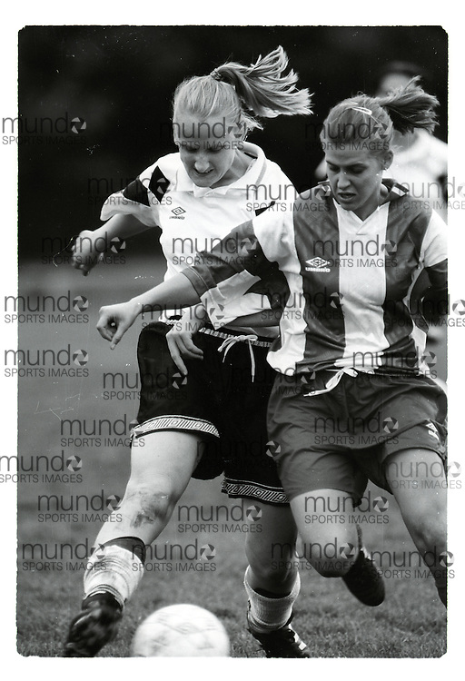 """If you wish to purchase this image, please contact us at info@mundosportimages.com quoting file name """"19960929_SB_UWOb&W_124.JPG"""" and we will clean the image before sending preparing it for sale to you. This is one of several thousand """"raw"""" black and white negative scans, each of which will need to be prepared for printing individually, which could take some time. Your understanding is appreciated...(September 29, 1996) University of Western Ontario Mustangs women's soccer   played at J W Little Stadium in London, Ontario. Photograph copyright Sean Burges / Mundo Sport Images."""