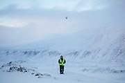 Glaciologist Nick Hulton tests out a quadcopter drone on Rabotbreen, Svalbard during a UNIS class field trip.