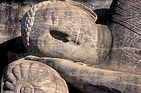 Sri Lanka. Polonnaruwa. Gal Vihara. Groupe de sculpture de Bouddha . // Sri Lanka. Polonnaruwa. Gal Vihara. Bouddha sculptures.