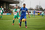 AFC Wimbledon forward Kwesi Appiah (9) shields the ball during the EFL Sky Bet League 1 match between AFC Wimbledon and Plymouth Argyle at the Cherry Red Records Stadium, Kingston, England on 26 December 2018.
