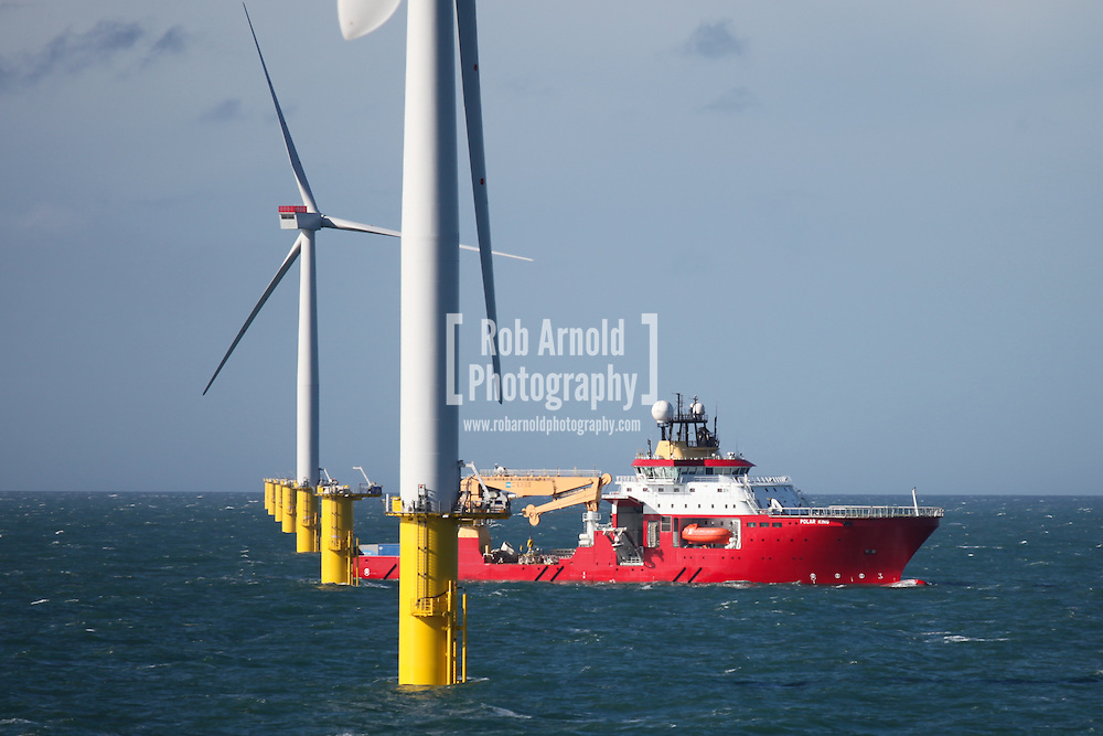 © Rob Arnold.  21/03/2014. North Wales, UK. A view of the construction support vessel, Polar King, working on Gwynt y Môr Offshore Wind Farm off the coast of North Wales. Photo credit : Rob Arnold