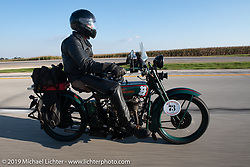 George Unruh riding his 1924 Harley-Davidson JDCA in the Motorcycle Cannonball coast to coast vintage run. Stage 6 (260 miles) from Bourbonnais, IL to Cedar Rapids, IA. Thursday September 13, 2018. Photography ©2018 Michael Lichter.
