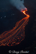 lava erupting from fissure 8 of the Kilauea Volcano east rift zone in Leilani Estates subdivision, near Pahoa, flows downslope as a glowing river of hot lava toward Kapoho, lower Puna District, Hawaii Island ( the Big Island ), Hawaiian Islands, U.S.A. ( Pacific Ocean )