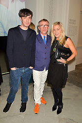 Left to right, OISIN BYRNE, JASPER CONRAN and MAIA NORMAN at the Alexandra Shulman and Leon Max hosted opening of Vogue 100: A Century of Style at The National Portrait Gallery, London on 9th February 2016.