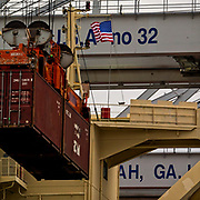Containers and ship to shore cranes working vessels at the Georgia Ports Authority Garden City Terminal, Saturday, Feb., 7, 2018, in Savannah, Ga.  (GPA Photo/Stephen B. Morton)