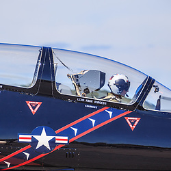 Lancaster, PA, USA - August 22, 2015: Close up of pilot in an L-39 jet after returning from a fly-over at Lancaster Airport Community Days air show.