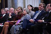 Koning Willem Alexander reikt Erasmusprijs 2016 uit aan  aan Britse schrijfster A.S. (Antonia Susan) Byatt.<br /> <br /> King Willem Alexander awards the  Erasmus Prize 2016 to British writer A.S. (Antonia Susan) Byatt.<br /> <br /> Op de foto / On the photo: <br />  Koningin Maxima, A.S. (Antonia Susan) Byatt , koning Willem-Alexander  ////  Queen Maxima, A.S. (Antonia Susan) Byatt, King Willem-Alexander