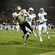 UCF Knights wide receiver Breshad Perriman (11) leaps into the end zone for a 52 yard touchdown reception late in the fourth quarter of the NCAA football game between the South Florida Bulls and the 17th ranked University of Central Florida Knights at Bright House Networks Stadium on Friday, November 29, 2013 in Orlando, Florida. This Knights won the game 23-20. (AP Photo/Alex Menendez)