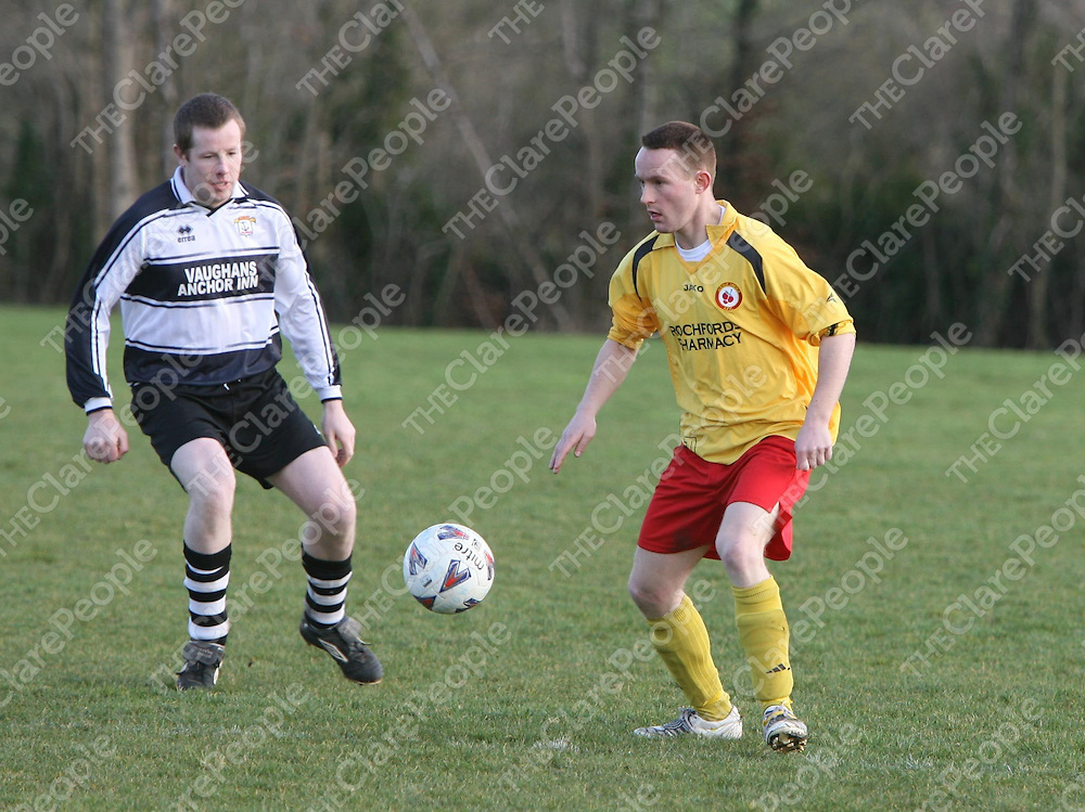 Mikey Mahoney  in action during the Avenue V Moher Celtic match at Lees Road on Sunday.<br /> <br /> Photograph by Eamon Ward