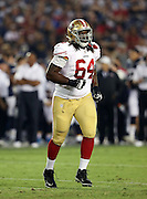 San Francisco 49ers offensive tackle Fahn Cooper (64) jogs across the field during the 2016 NFL preseason football game against the San Diego Chargers on Thursday, Sept. 1, 2016 in San Diego. The 49ers won the game 31-21. (©Paul Anthony Spinelli)