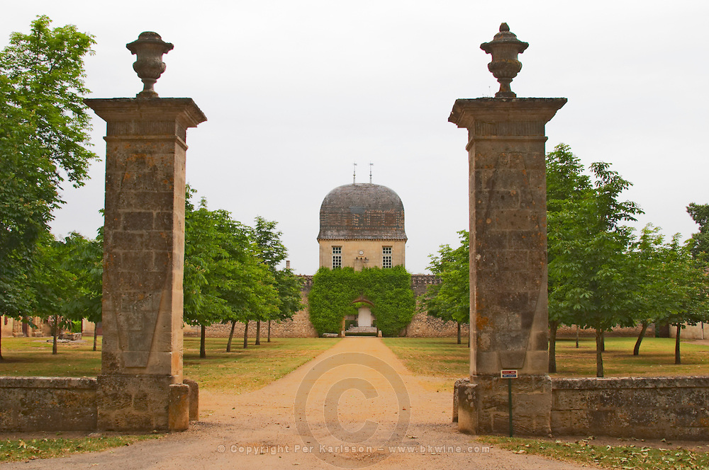 Chateau de Sales with stone pillars and cupola like building Pomerol Bordeaux Gironde Aquitaine France