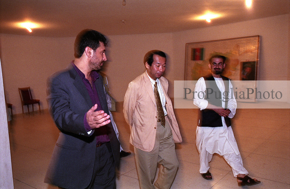 31 August 2005..In dark suite the Governor of Kandahar, Haji Asadullah Khalid, and his special guest Nirihiro Okuda - the Ambassador of Japan - soon after the official press conference.