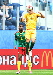 2017?6?23?.   ????????——?????????????????.    6?22?????????????????????????.    ??????????????2017????????B???????????1?1?????????.    ?????????..(SP)RUSSIA-ST. PETERSBURG-2017 FIFA CONFEDERATIONS CUP-CMR VS AUS..(170623) -- ST. PETERSBURG, June 23, 2017  Milos Degenek (top) of Australia competes for a header during the group B match between Cameroon and Australia of the 2017 FIFA Confederations Cup in St. Petersburg, Russia, on June 22, 2017. The match ended with a 1-1 tie.  7 9854294892 (Credit Image: © Xu Zijian/Xinhua via ZUMA Wire)