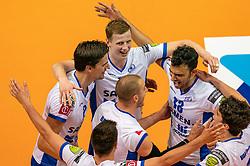 12-05-2019 NED: Abiant Lycurgus - Achterhoek Orion, Groningen<br /> Final Round 5 of 5 Eredivisie volleyball, Orion wins Dutch title after thriller against Lycurgus 3-2 / Wytze Kooistra #2 of Lycurgus , Auke van de Kamp #5 of Lycurgus Hossein Ghanbari #13 of Lycurgus