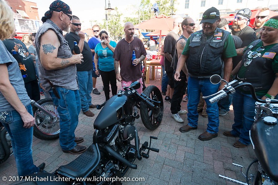 In Motion Custom Bike Show bikes on display in front of the main downtown stage at the Lone Star Rally. Galveston, TX. USA. Sunday November 5, 2017. Photography ©2017 Michael Lichter.
