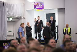 "© Licensed to London News Pictures . 30/11/2015 . Leeds , UK . NIGEL FARAGE (c) waiting in the wings ahead of addressing a "" Say No to the EU "" event at the Leeds United's ground at Elland Road . Photo credit: Joel Goodman/LNP"