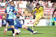 Oxford United midfielder Shandon Baptiste (26) takes a shot at goal during the EFL Sky Bet League 1 match between Wycombe Wanderers and Oxford United at Adams Park, High Wycombe, England on 15 September 2018.