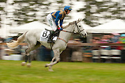 9  April, 2011:  Paddy Young gallops MISCHIEF to the start for Stoneybrook Chase. The pair would go on to win the race.