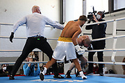 Boxen: Giants Professional Boxing, Session 3, Hamburg, 17.04.2021<br /> John Bielenberg (GER) - Melvin Kecanovic (GER)<br /> © Torsten Helmke