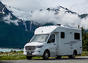 Our RV parks with a view of Rainbow Glacier in the Chilkat Range, seen from Chilkat State Park, Haines, Alaska, USA.