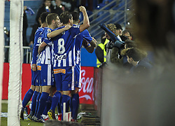 February 11, 2019 - Vitoria, Alava, Spain - Players of Alaves celebrating a goal during La Liga Spanish championship, , football match between Alaves and Levante, February 11th, in Mendizorroza Stadium in Vitoria, Spain. (Credit Image: © AFP7 via ZUMA Wire)