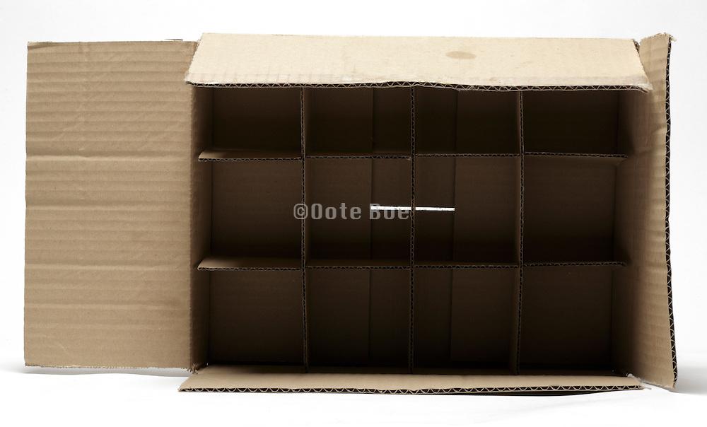 open corrugated carton box with subdivisions