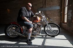 In Motion custom bike show Invited builder Ryan Gore on his Shovelhead at the Lone Star Rally. Galveston, TX. USA. Sunday November 5, 2017. Photography ©2017 Michael Lichter.