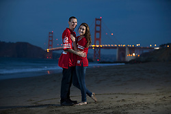 John Harris, left, and fiancee Christi Kelley pose for a photograph at Baker Beach in San Francisco, Tuesday, Nov. 21, 2017. (Photo by D. Ross Cameron)