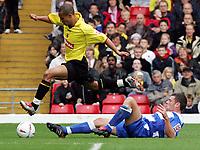 Fotball<br /> England 2004/2005<br /> Foto: SBI/Digitalsport<br /> NORWAY ONLY<br /> <br /> Watford v Reading<br /> Coca-Cola championship. Vicarage Road.<br /> 25/09/2004<br /> Watford's Gavin Webber jumps over Reading's Graeme Murty