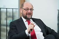 22 FEB 2016, BERLIN/GERMANY:<br /> Martin Schulz, SPD, Praesident des Europaeischen Parlamentes, waehrend einem Interview, Spiegel Hauptstadtbuero<br /> IMAGE: 20160222-01-029