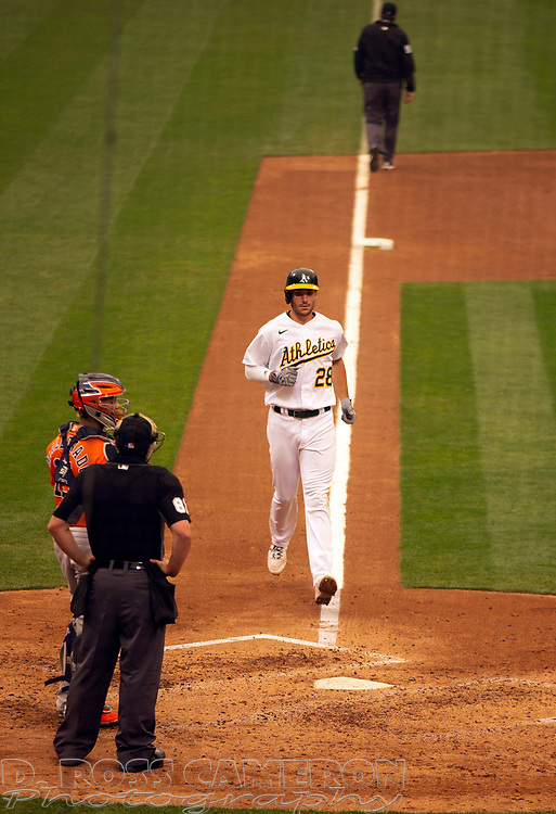 Sep 10, 2020; Oakland, California, USA; Oakland Athletics Matt Olson (28) runs out his two-run home run against the Houston Astros during the sixth inning of a baseball game at Oakland Coliseum. Mandatory Credit: D. Ross Cameron-USA TODAY Sports